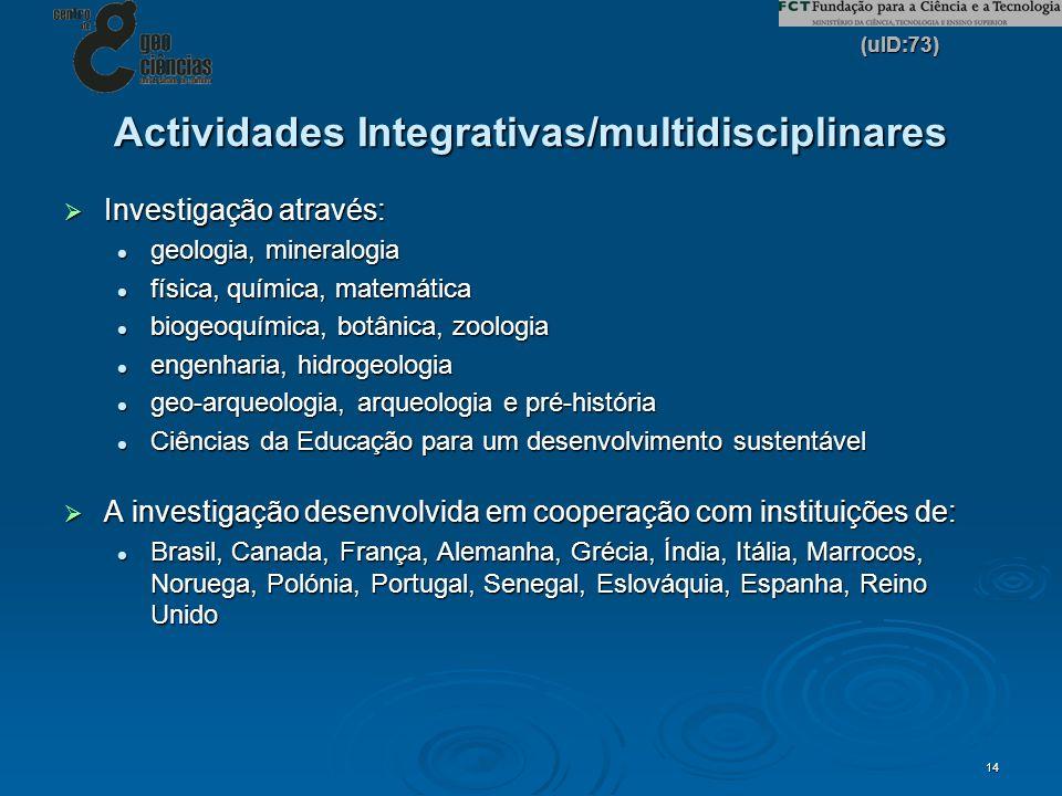 (uID:73) 14 Actividades Integrativas/multidisciplinares Investigação através: Investigação através: geologia, mineralogia geologia, mineralogia física