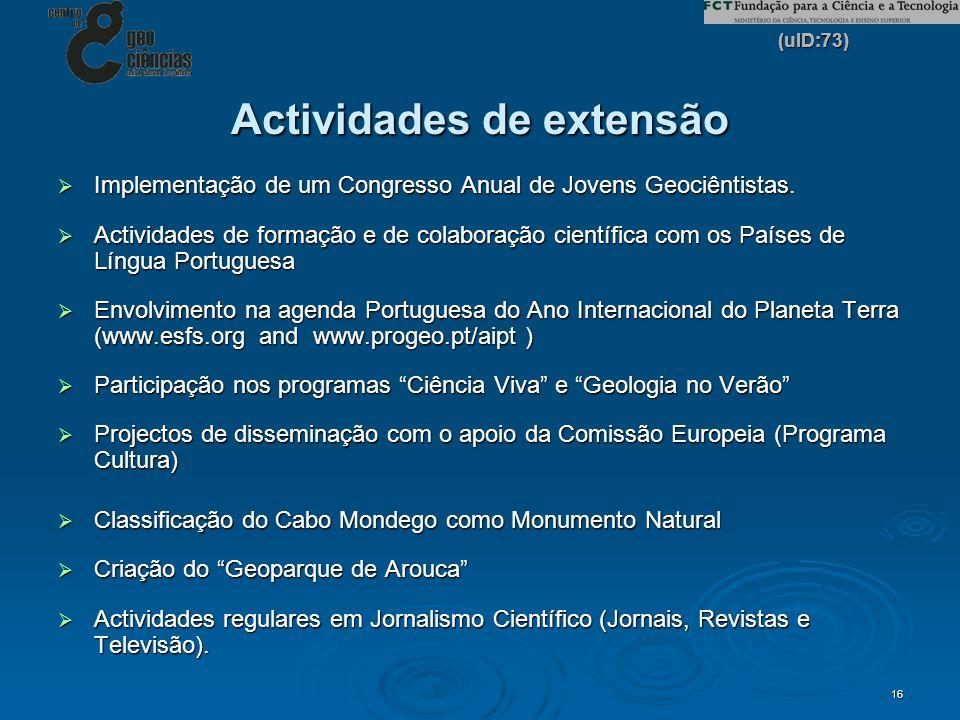 (uID:73) 16 Actividades de extensão Implementação de um Congresso Anual de Jovens Geociêntistas. Implementação de um Congresso Anual de Jovens Geociên
