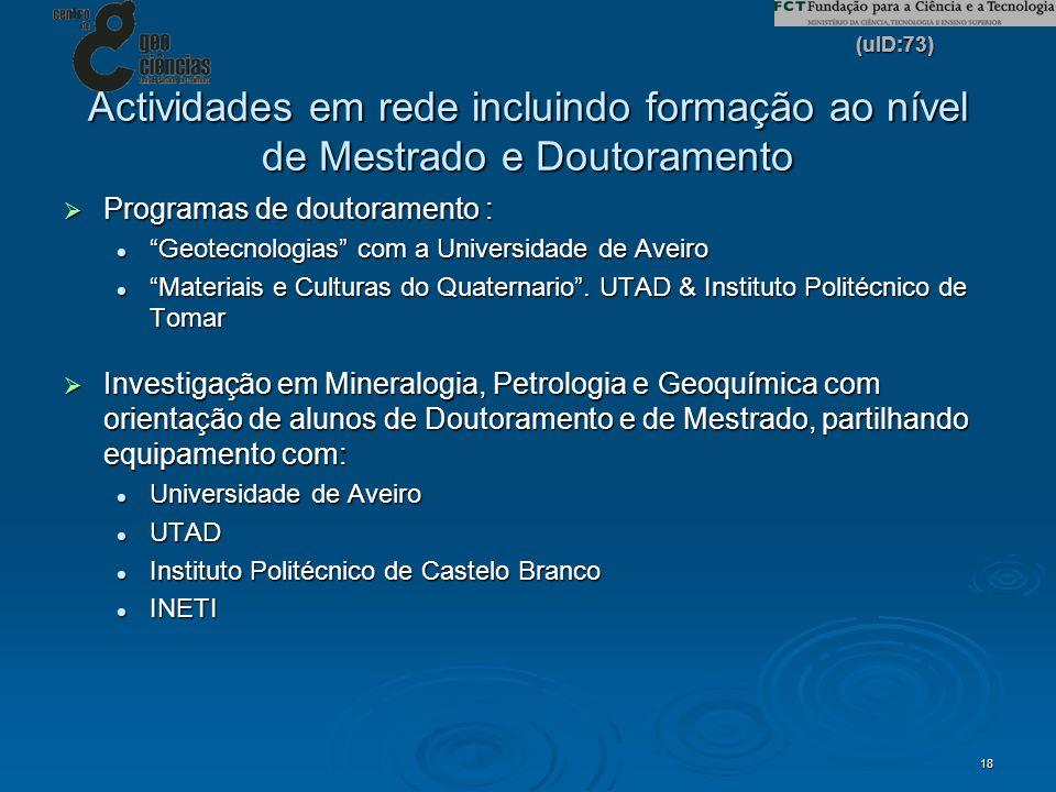 (uID:73) 18 Actividades em rede incluindo formação ao nível de Mestrado e Doutoramento Programas de doutoramento : Programas de doutoramento : Geotecn