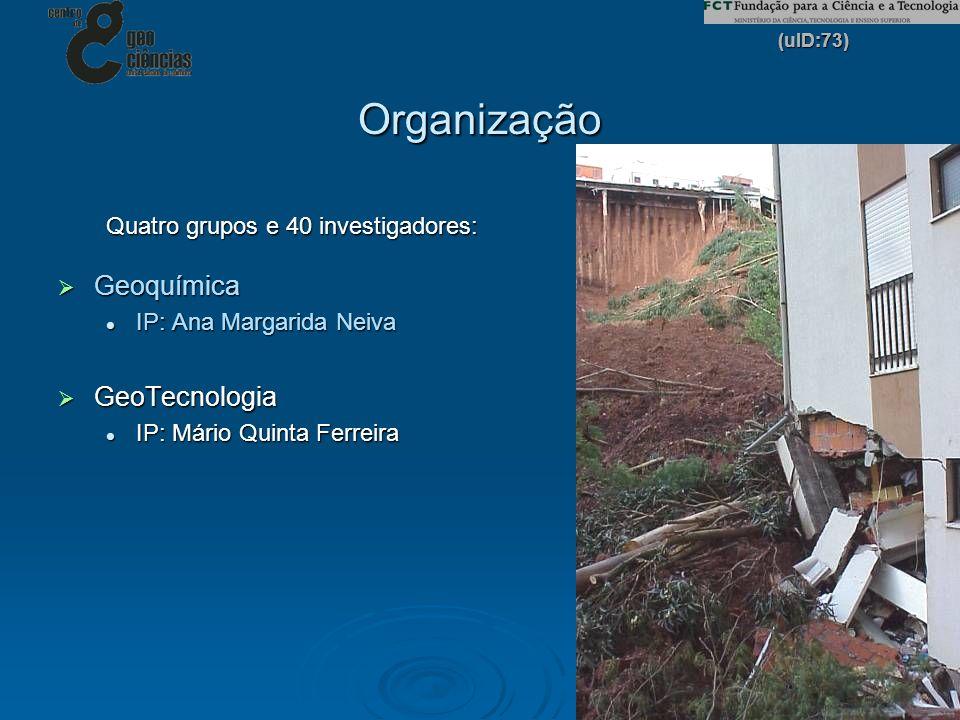 (uID:73) 3 Organização Quatro grupos e 40 investigadores: Geoquímica Geoquímica IP: Ana Margarida Neiva IP: Ana Margarida Neiva GeoTecnologia GeoTecno