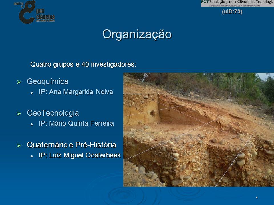 (uID:73) 4 Organização Quatro grupos e 40 investigadores: Geoquímica Geoquímica IP: Ana Margarida Neiva IP: Ana Margarida Neiva GeoTecnologia GeoTecno
