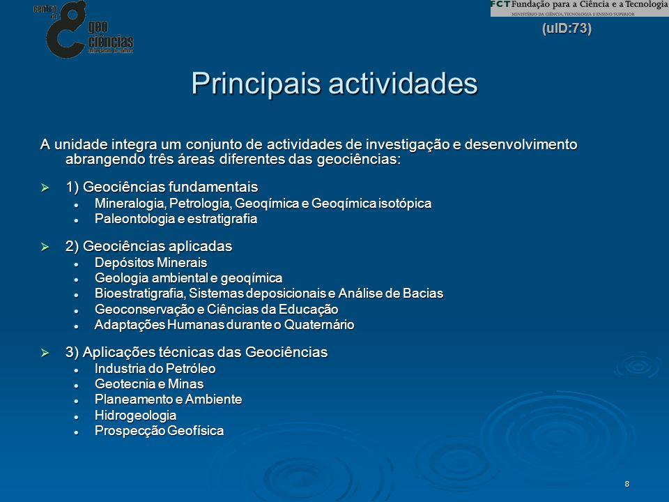 (uID:73) 8 Principais actividades A unidade integra um conjunto de actividades de investigação e desenvolvimento abrangendo três áreas diferentes das