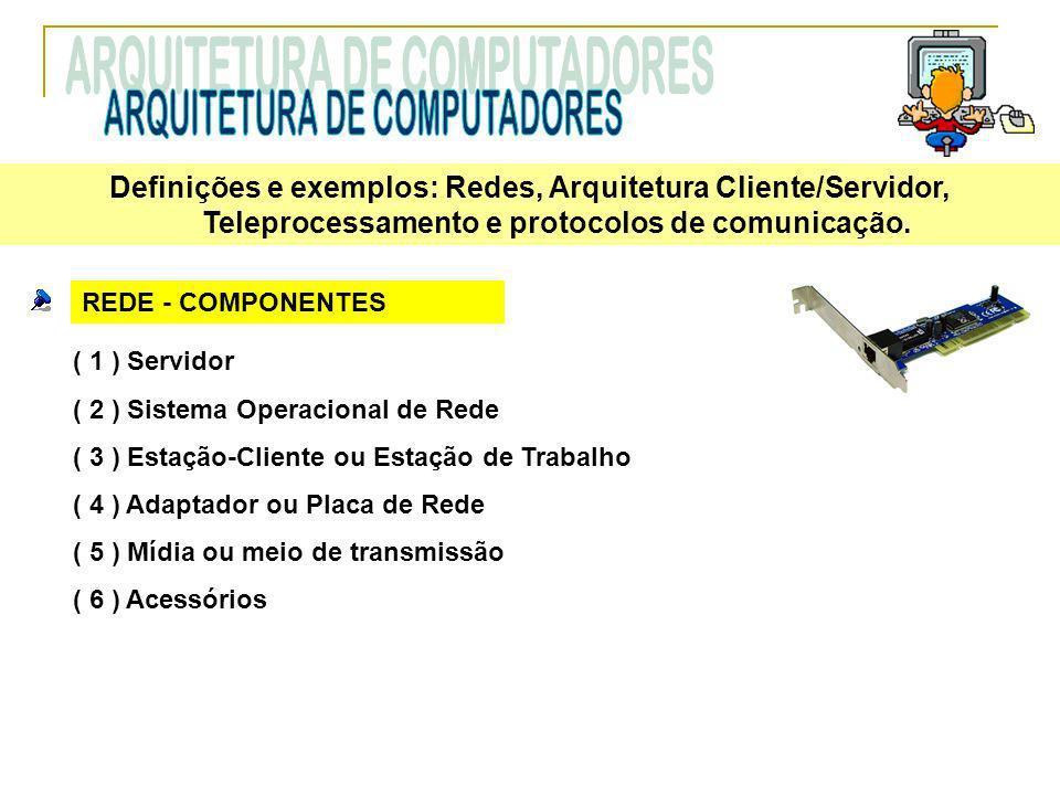 REDE - COMPONENTES ( 1 ) Servidor ( 2 ) Sistema Operacional de Rede ( 3 ) Estação-Cliente ou Estação de Trabalho ( 4 ) Adaptador ou Placa de Rede ( 5