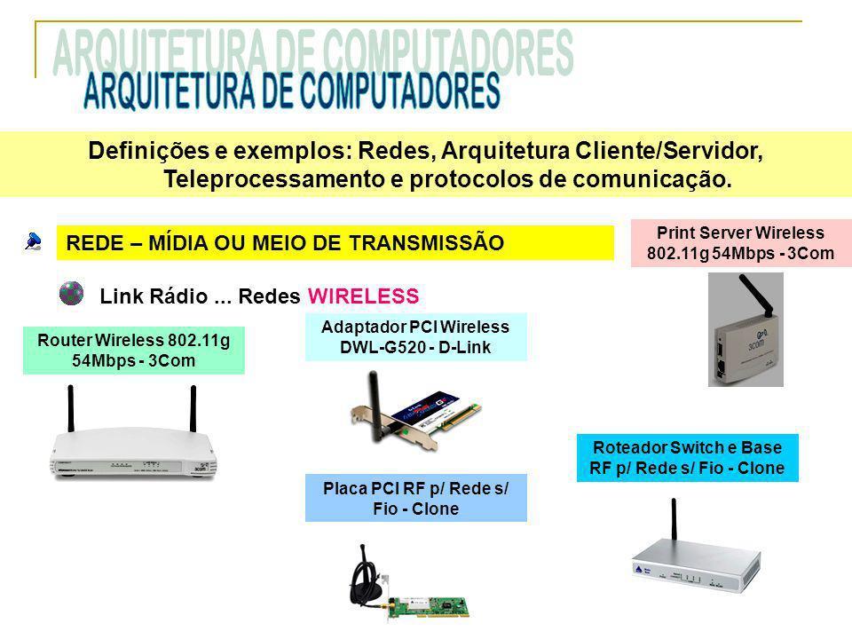 REDE – MÍDIA OU MEIO DE TRANSMISSÃO Link Rádio... Redes WIRELESS Router Wireless 802.11g 54Mbps - 3Com Print Server Wireless 802.11g 54Mbps - 3Com Ada