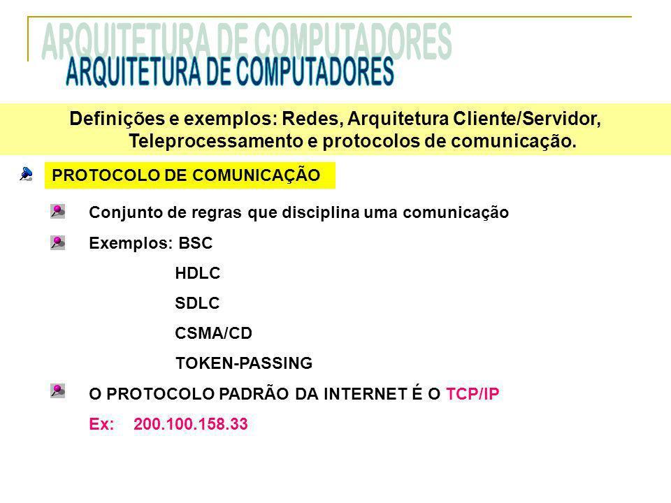 PROTOCOLO DE COMUNICAÇÃO Conjunto de regras que disciplina uma comunicação Exemplos: BSC HDLC SDLC CSMA/CD TOKEN-PASSING O PROTOCOLO PADRÃO DA INTERNE