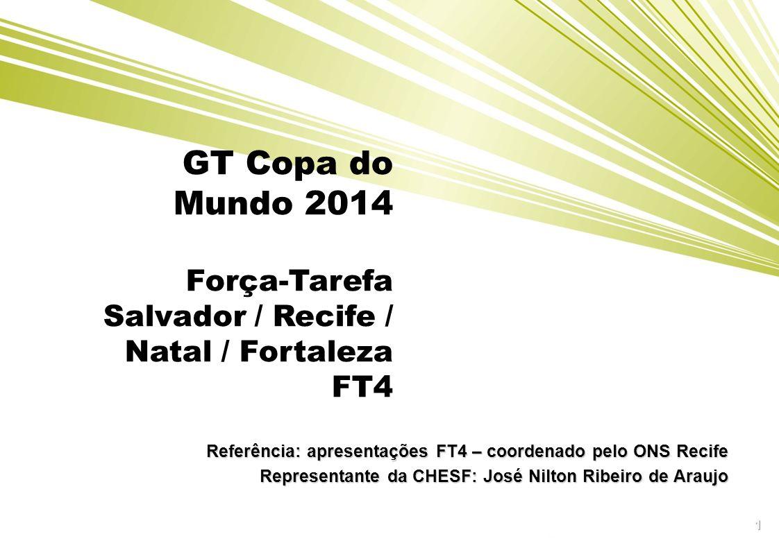 GT Copa do Mundo 2014 Força-Tarefa Salvador / Recife / Natal / Fortaleza FT4 1 Referência: apresentações FT4 – coordenado pelo ONS Recife Representant