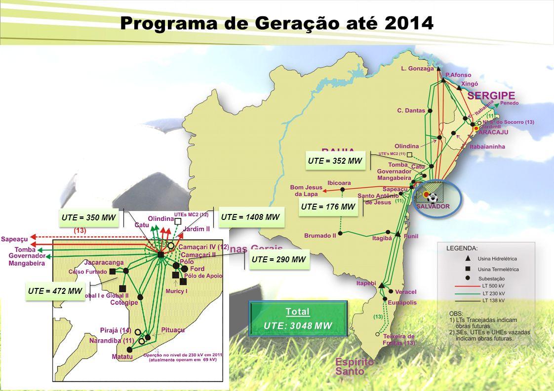 UTE = 290 MW UTE = 352 MW UTE = 176 MW UTE = 472 MW UTE = 350 MW UTE = 1408 MW Programa de Geração até 2014