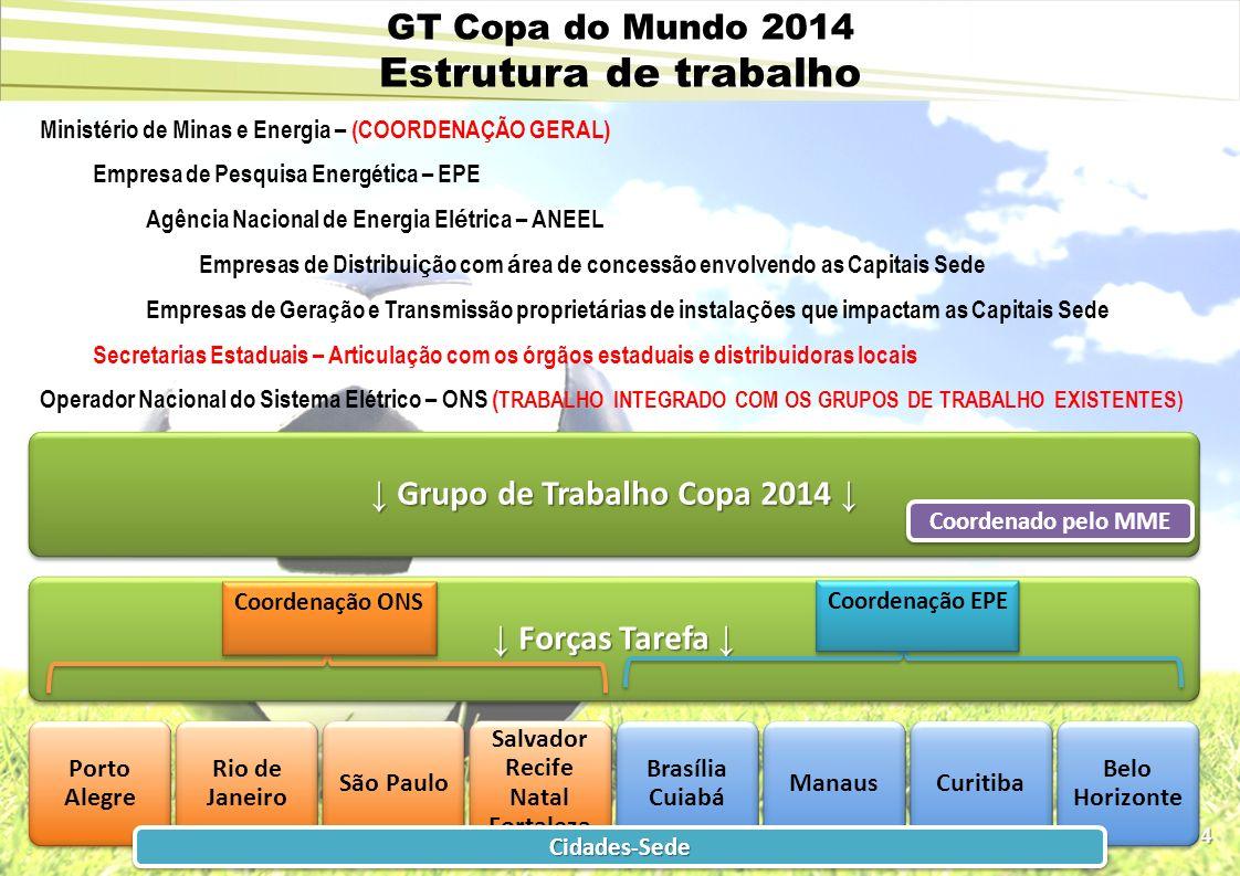 4 GT Copa do Mundo 2014 Estrutura de trabalho Ministério de Minas e Energia – (COORDENAÇÃO GERAL) Empresa de Pesquisa Energética – EPE Agência Naciona