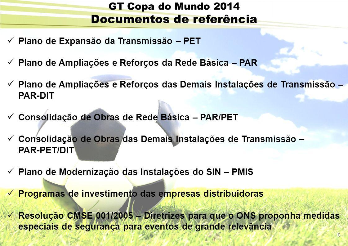 6 GT Copa do Mundo 2014 Documentos de referência Plano de Expansão da Transmissão – PET Plano de Ampliações e Reforços da Rede Básica – PAR Plano de A