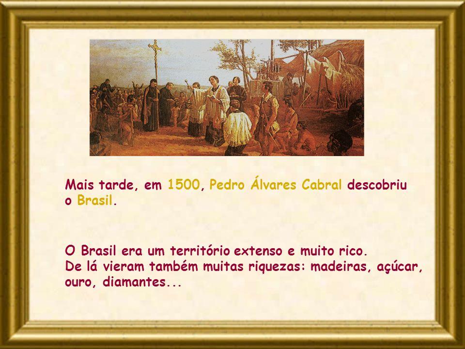 O Brasil era um território extenso e muito rico. De lá vieram também muitas riquezas: madeiras, açúcar, ouro, diamantes... Mais tarde, em 1500, Pedro
