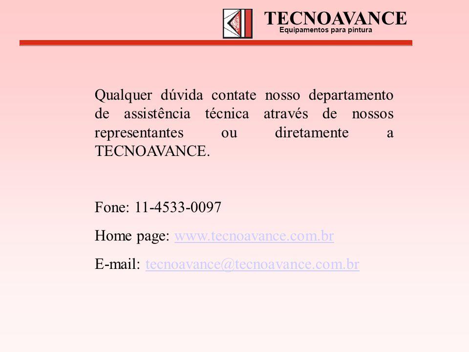 Qualquer dúvida contate nosso departamento de assistência técnica através de nossos representantes ou diretamente a TECNOAVANCE. Fone: 11-4533-0097 Ho