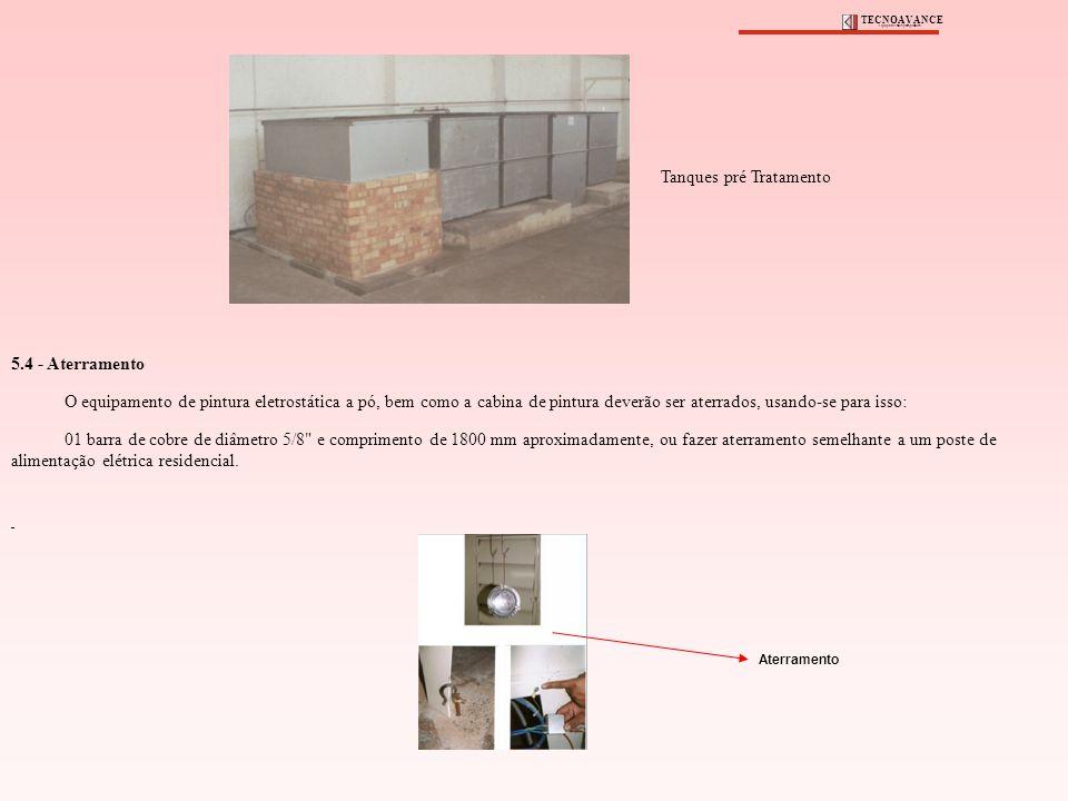 5.4 - Aterramento O equipamento de pintura eletrostática a pó, bem como a cabina de pintura deverão ser aterrados, usando-se para isso: 01 barra de co