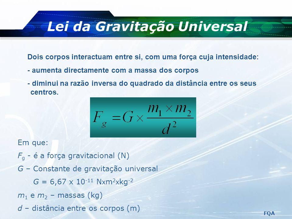 Força Gravitacional É a força que a Terra exerce em cada corpo. Tem a direcção vertical para o centro da Terra e o sentido de cima para baixo. O seu v