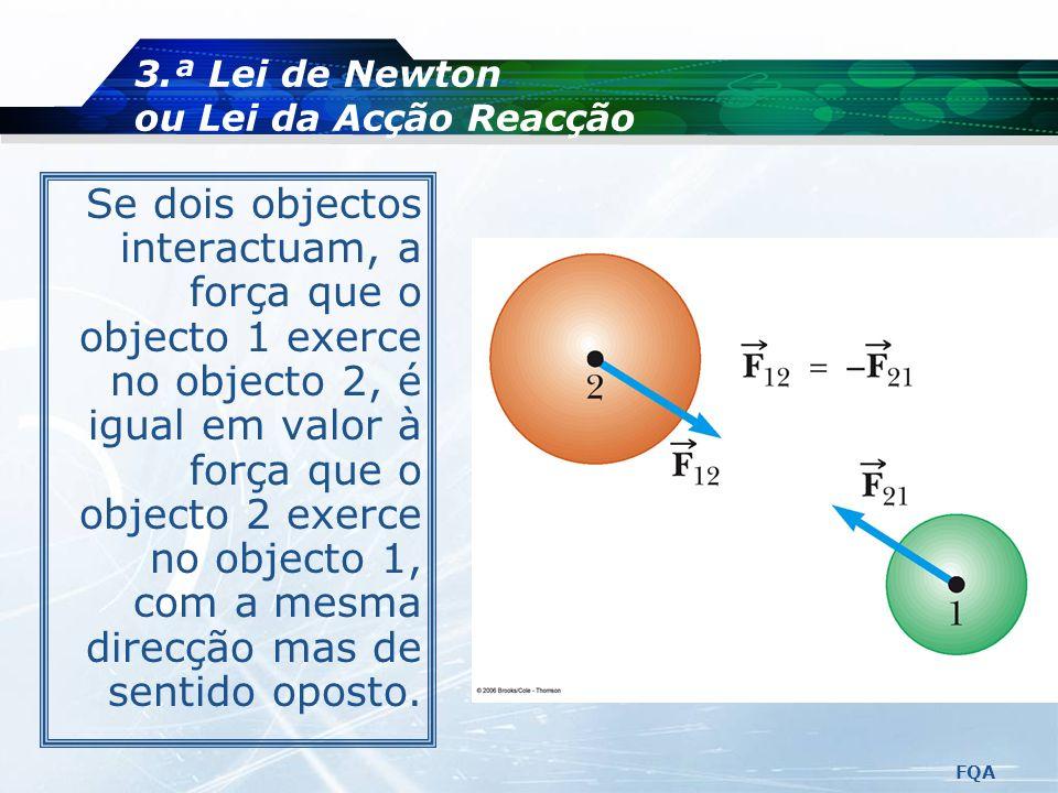 FQA 3.ª Lei de Newton ou Lei da Acção Reacção A maça é atraída pela gravidade da Terra. A Terra é atraída pela gravidade da maça.