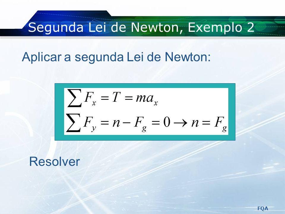 FQA Segunda Lei de Newton, Exemplo 2 Forças que actuam no caixote: A tensão A força da gravidade A força normal exercida pelo chão
