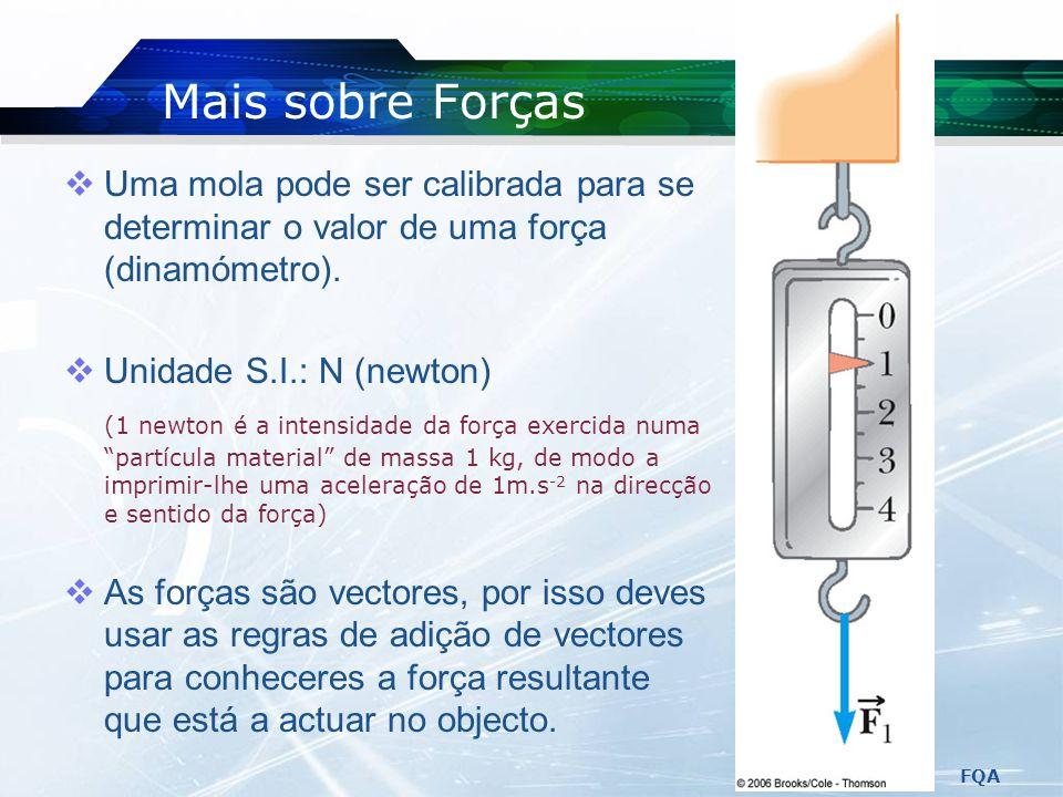 FQA Classificação de Forças Forças de Contacto: Envolvem um contacto físico entre os objectos ou corpos. Forças de Interacção: Não necessitam de conta
