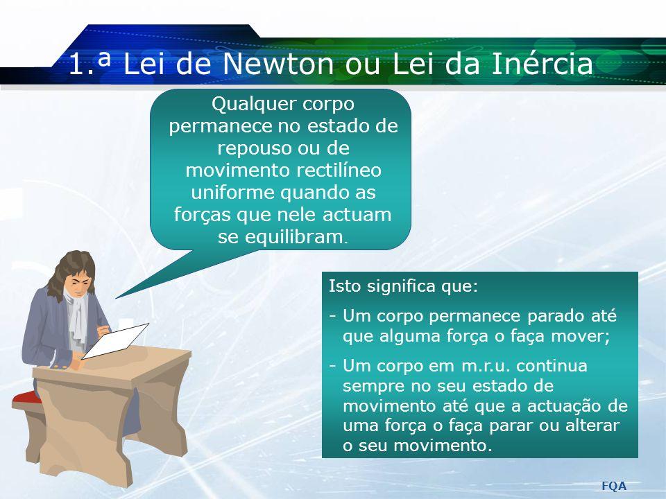 FQA Mais sobre Forças Uma mola pode ser calibrada para se determinar o valor de uma força (dinamómetro). Unidade S.I.: N (newton) (1 newton é a intens