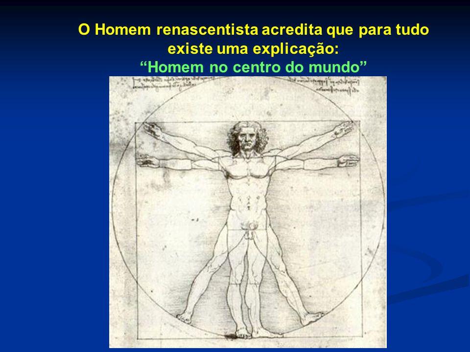 O Homem renascentista acredita que para tudo existe uma explicação: Homem no centro do mundo