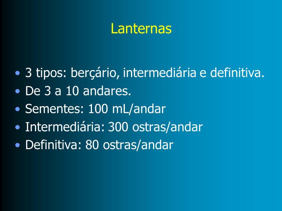 Lanternas 3 tipos: berçário, intermediária e definitiva. De 3 a 10 andares. Sementes: 100 mL/andar Intermediária: 300 ostras/andar Definitiva: 80 ostr