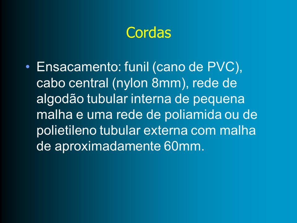 Cordas Ensacamento: funil (cano de PVC), cabo central (nylon 8mm), rede de algodão tubular interna de pequena malha e uma rede de poliamida ou de poli