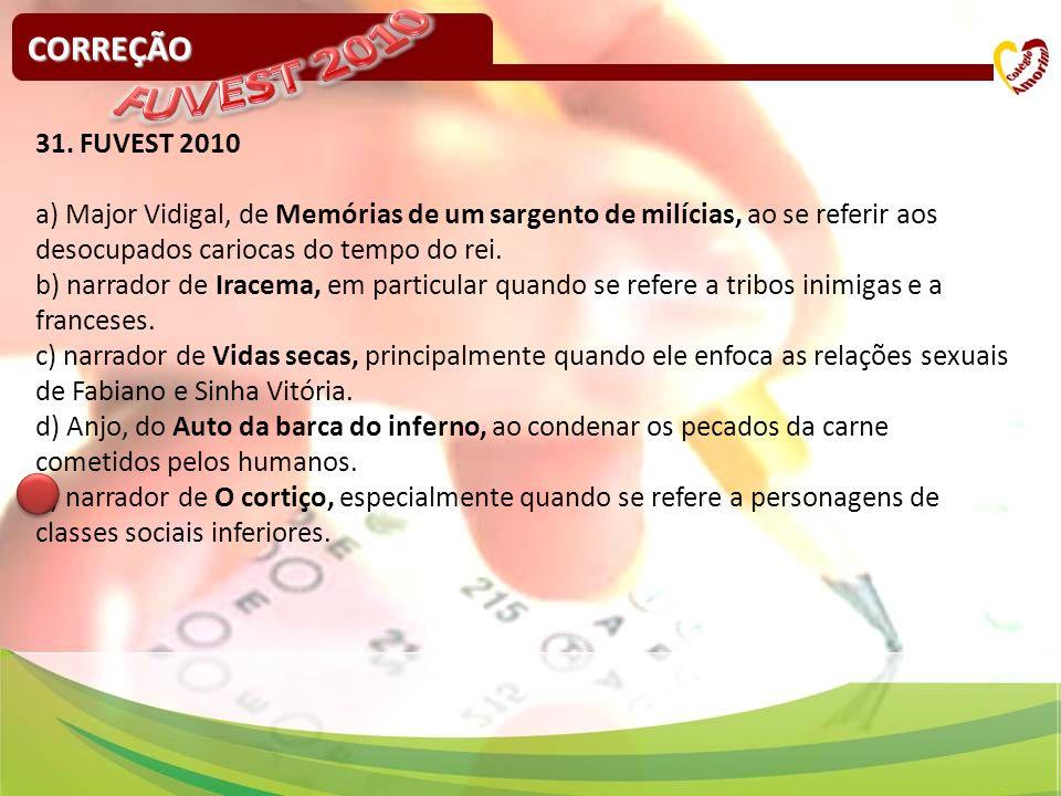 CORREÇÃO 31. FUVEST 2010 a) Major Vidigal, de Memórias de um sargento de milícias, ao se referir aos desocupados cariocas do tempo do rei. b) narrador