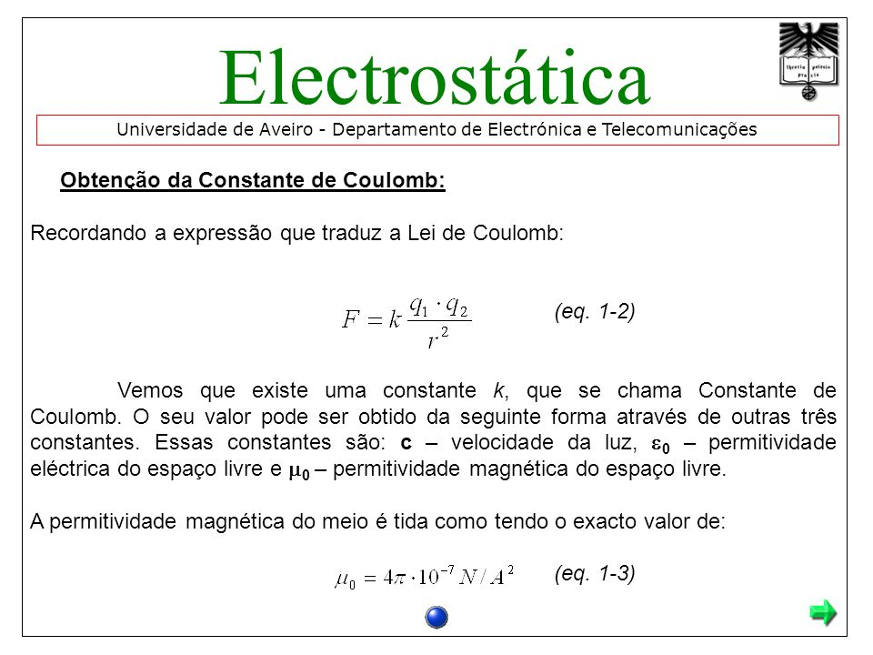 Obtenção da Constante de Coulomb: Recordando a expressão que traduz a Lei de Coulomb: (eq. 1-2) Vemos que existe uma constante k, que se chama Constan