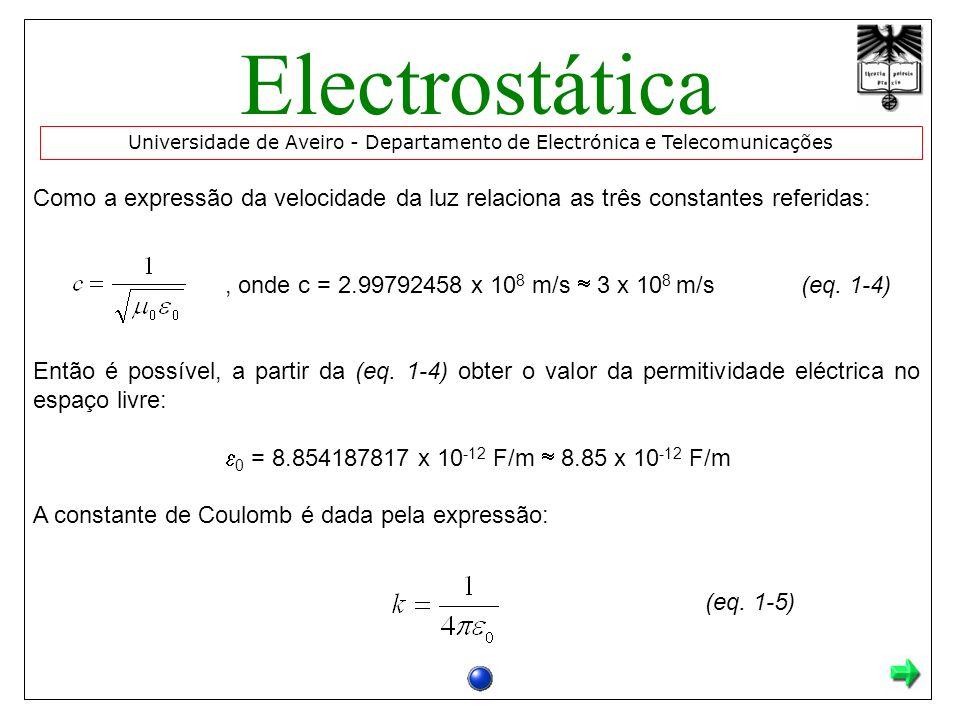 Como a expressão da velocidade da luz relaciona as três constantes referidas:, onde c = 2.99792458 x 10 8 m/s 3 x 10 8 m/s(eq.