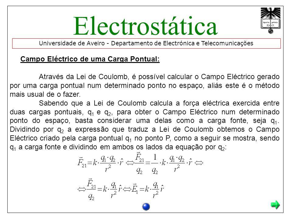 Campo Eléctrico de uma Carga Pontual: Através da Lei de Coulomb, é possível calcular o Campo Eléctrico gerado por uma carga pontual num determinado ponto no espaço, aliás este é o método mais usual de o fazer.