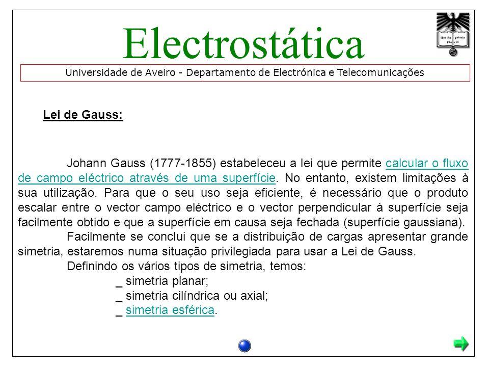 Lei de Gauss: Johann Gauss (1777-1855) estabeleceu a lei que permite calcular o fluxo de campo eléctrico através de uma superfície.