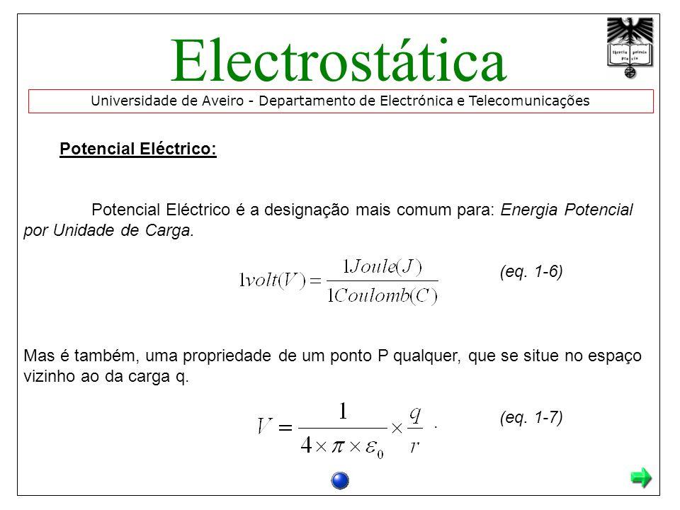 Potencial Eléctrico: Potencial Eléctrico é a designação mais comum para: Energia Potencial por Unidade de Carga. (eq. 1-6) Mas é também, uma proprieda