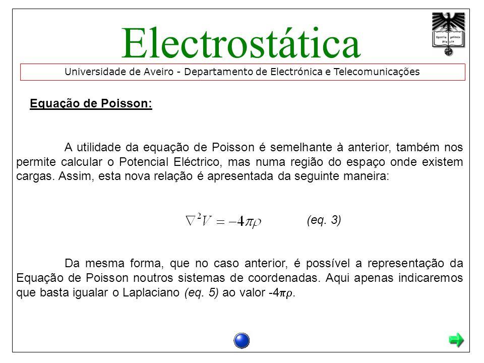 Equação de Poisson: A utilidade da equação de Poisson é semelhante à anterior, também nos permite calcular o Potencial Eléctrico, mas numa região do espaço onde existem cargas.