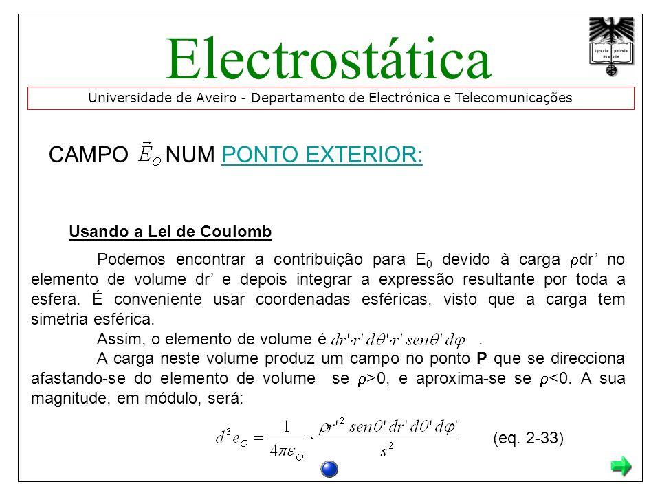 CAMPO NUM PONTO EXTERIOR:PONTO EXTERIOR: Podemos encontrar a contribuição para E 0 devido à carga dr no elemento de volume dr e depois integrar a expressão resultante por toda a esfera.