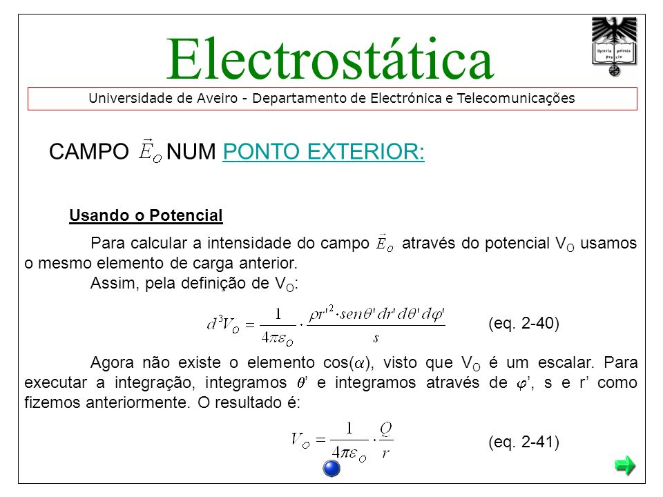 CAMPO NUM PONTO EXTERIOR:PONTO EXTERIOR: Usando o Potencial Para calcular a intensidade do campo através do potencial V O usamos o mesmo elemento de carga anterior.