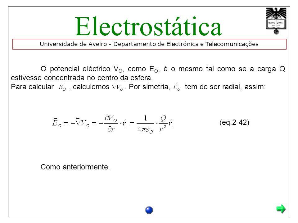 O potencial eléctrico V O, como E O, é o mesmo tal como se a carga Q estivesse concentrada no centro da esfera.