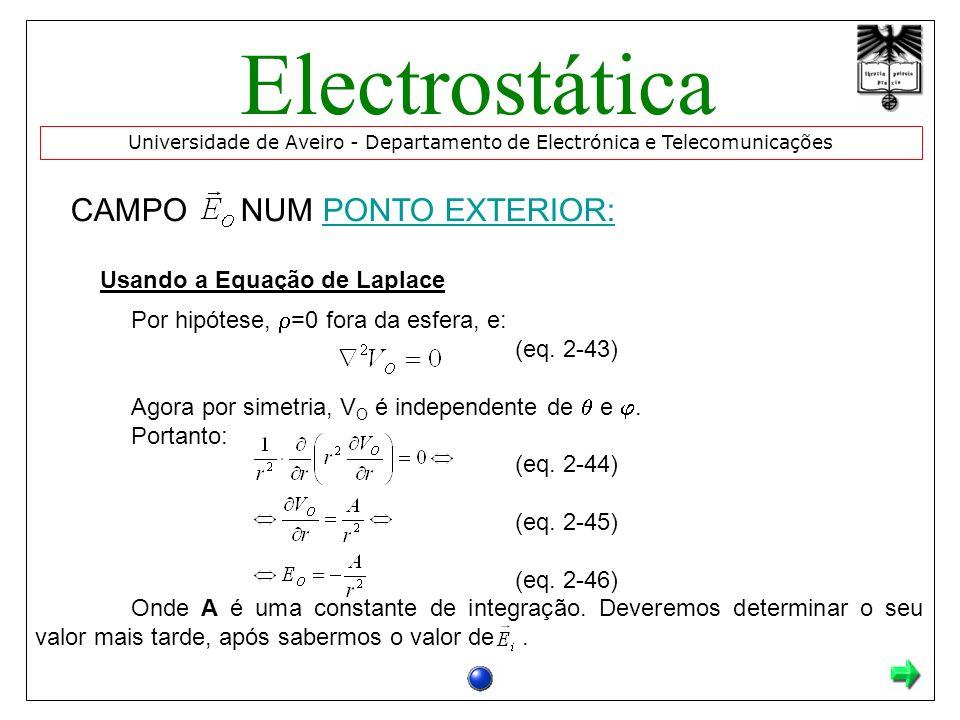 CAMPO NUM PONTO EXTERIOR:PONTO EXTERIOR: Usando a Equação de Laplace Por hipótese, =0 fora da esfera, e: (eq. 2-43) Agora por simetria, V O é independ