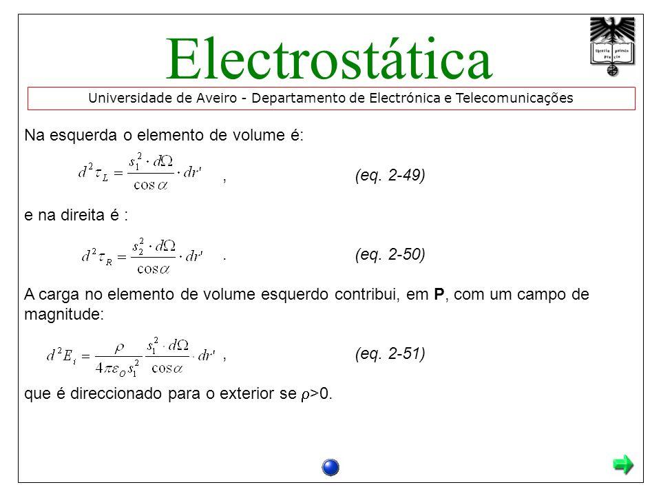 Na esquerda o elemento de volume é:,(eq. 2-49) e na direita é :.(eq. 2-50) A carga no elemento de volume esquerdo contribui, em P, com um campo de mag