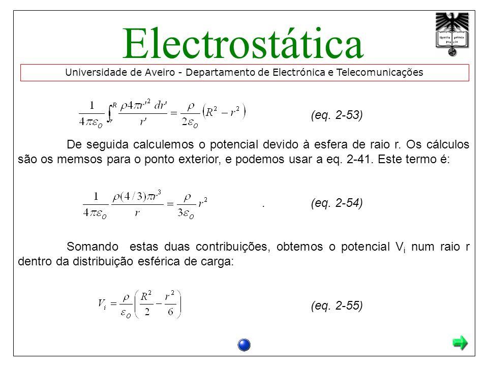(eq. 2-53) De seguida calculemos o potencial devido à esfera de raio r. Os cálculos são os memsos para o ponto exterior, e podemos usar a eq. 2-41. Es