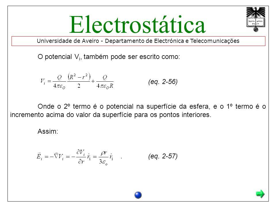 O potencial V i, também pode ser escrito como: (eq.