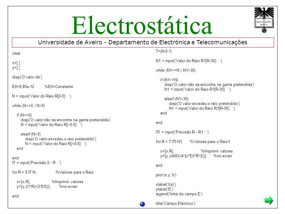 Universidade de Aveiro - Departamento de Electrónica e Telecomunicações Electrostática clear x=[ ] y=[ ] disp( O valor de ) E0=8.85e-12 %E0=Constante N = input( Valor do Raio R[0-5]: ) while (N 5) if (N<=0) disp( O valor não se encontra na gama pretendida ) N = input( Valor do Raio R[>0-5]: ) elseif (N>5) disp( O valor excedeu o raio pretendido ) N = input( Valor do Raio R[>0-5]: ) end end IT = input( Precisão 0 - R : ) for R = 0:IT:N; %Valores para o Raio x=[x,R]; %Imprimir valores y=[y,((1*R)/(3*E0))]; %no ecran end T=(N-0.1) N1 = input( Valor do Raio R1[R-30]: ) while (N1 30) if (N1<=N) disp( O valor não se encontra na gama pretendida ) N1 = input( Valor do Raio R1[R-30]: ) elseif (N1>30) disp( O valor excedeu o raio pretendido ) N1 = input( Valor do Raio R1[R-30]: ) end end ITI = input( Precisão R - R1 : ) for R = T:ITI:N1; %Valores para o Raio1 x=[x,R]; %Imprimir valores y=[y,((400)/(4*pi*E0*R^2))]; %no ecran end plot (x,y, b ) xlabel( t(s) ) ylabel( E ) legend( linha do campo E ) title( Campo Eléctrico )