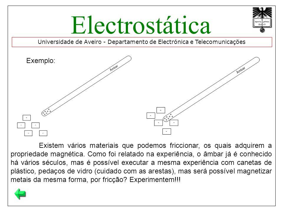 Exemplo: Universidade de Aveiro - Departamento de Electrónica e Telecomunicações Electrostática Existem vários materiais que podemos friccionar, os quais adquirem a propriedade magnética.