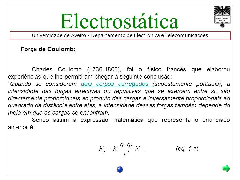 Força de Coulomb: Charles Coulomb (1736-1806), foi o físico francês que elaborou experiências que lhe permitiram chegar à seguinte conclusão: Quando s