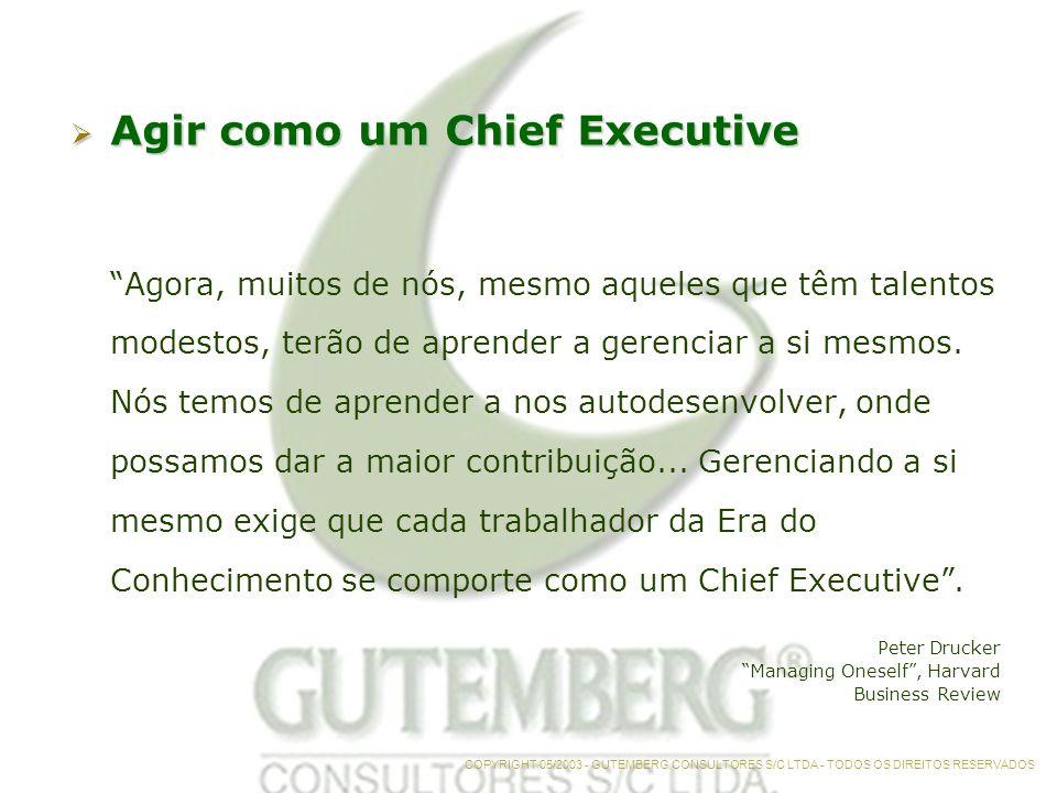 Agir como um Chief Executive Agir como um Chief Executive Agora, muitos de nós, mesmo aqueles que têm talentos modestos, terão de aprender a gerenciar a si mesmos.