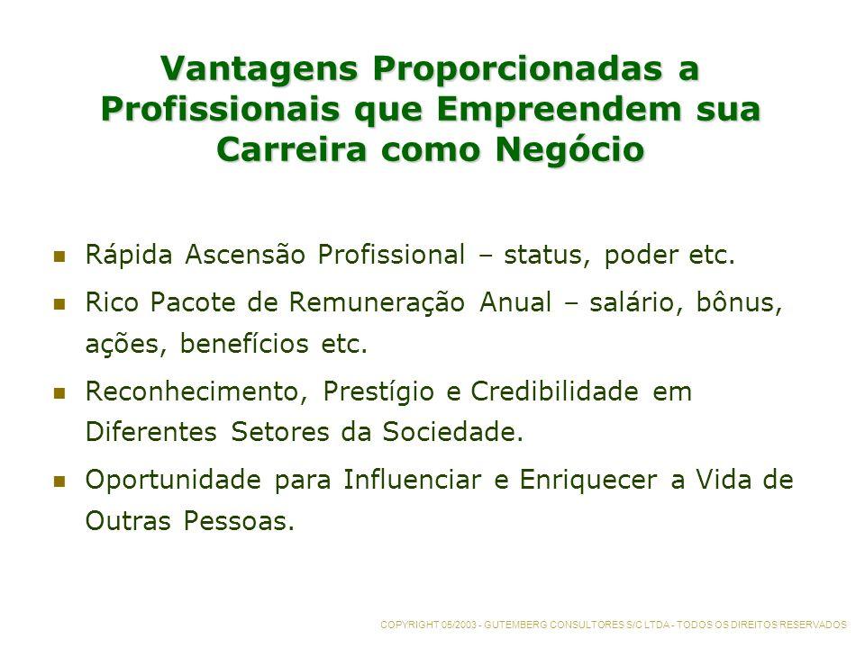 Vantagens Proporcionadas a Profissionais que Empreendem sua Carreira como Negócio Rápida Ascensão Profissional – status, poder etc.
