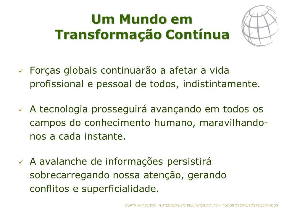 Um Mundo em Transformação Contínua Forças globais continuarão a afetar a vida profissional e pessoal de todos, indistintamente.