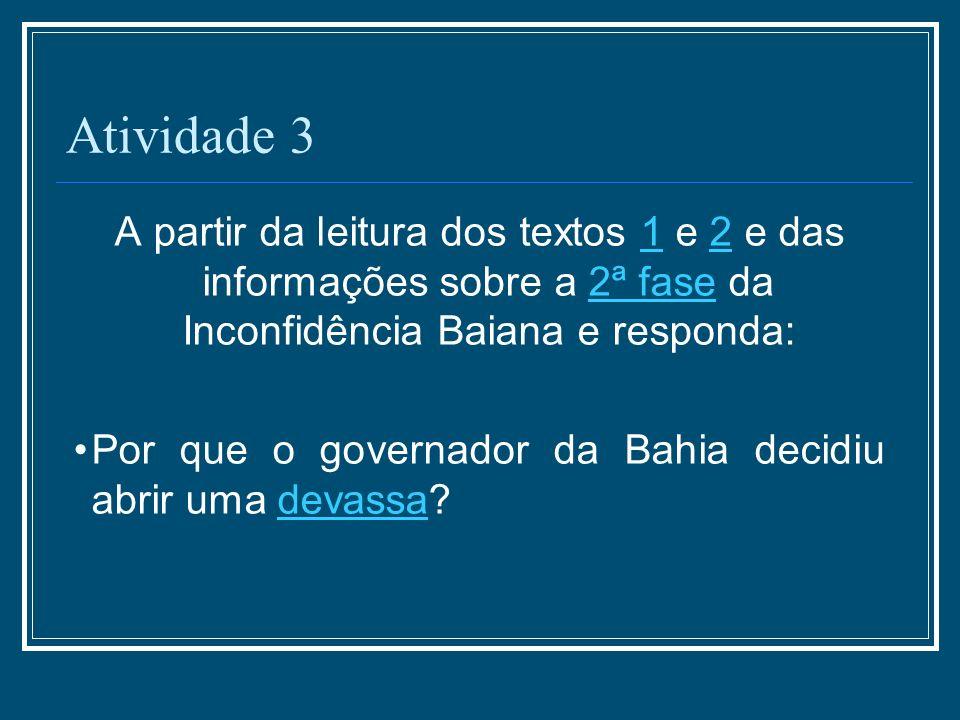 Atividade 3 A partir da leitura dos textos 1 e 2 e das informações sobre a 2ª fase da Inconfidência Baiana e responda:122ª fase Por que o governador d