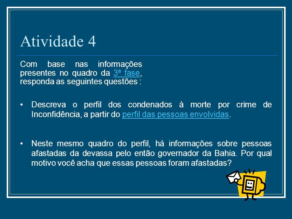Atividade 4 Com base nas informações presentes no quadro da 3ª fase, responda as seguintes questões :3ª fase Descreva o perfil dos condenados à morte