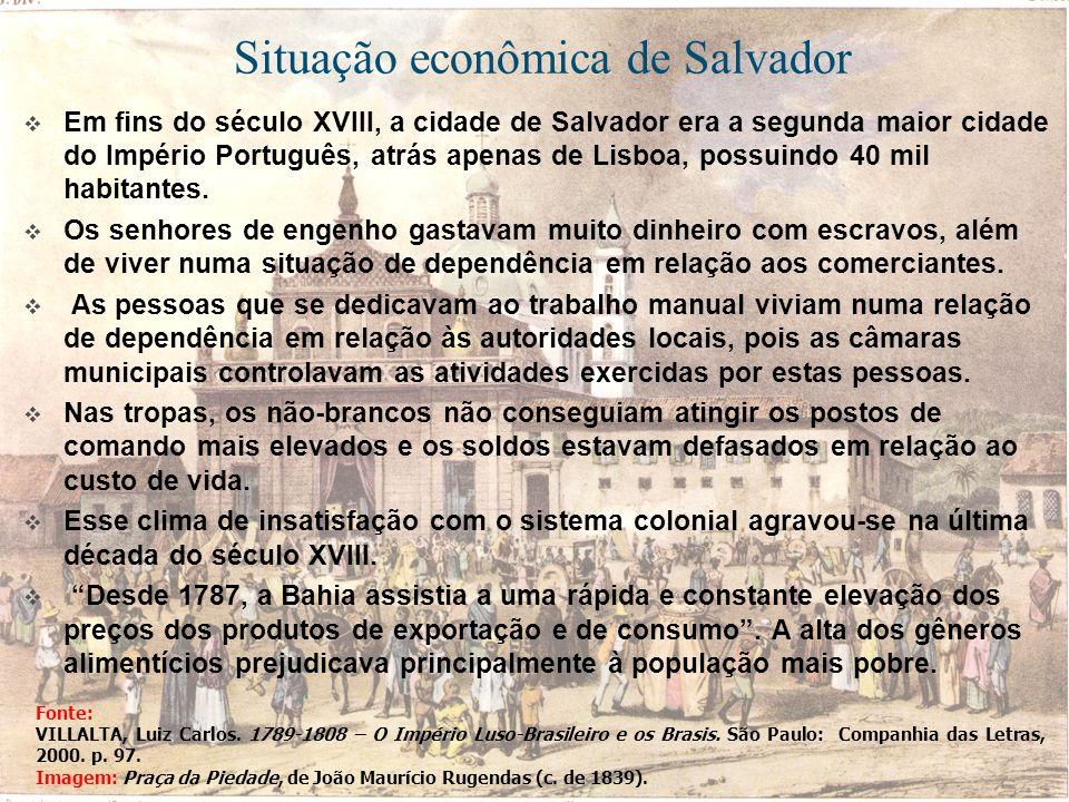 Situação econômica de Salvador Em fins do século XVIII, a cidade de Salvador era a segunda maior cidade do Império Português, atrás apenas de Lisboa,