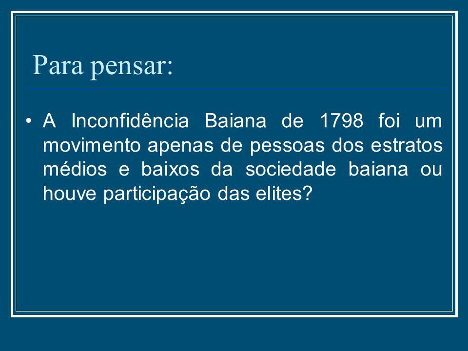 Para pensar: A Inconfidência Baiana de 1798 foi um movimento apenas de pessoas dos estratos médios e baixos da sociedade baiana ou houve participação
