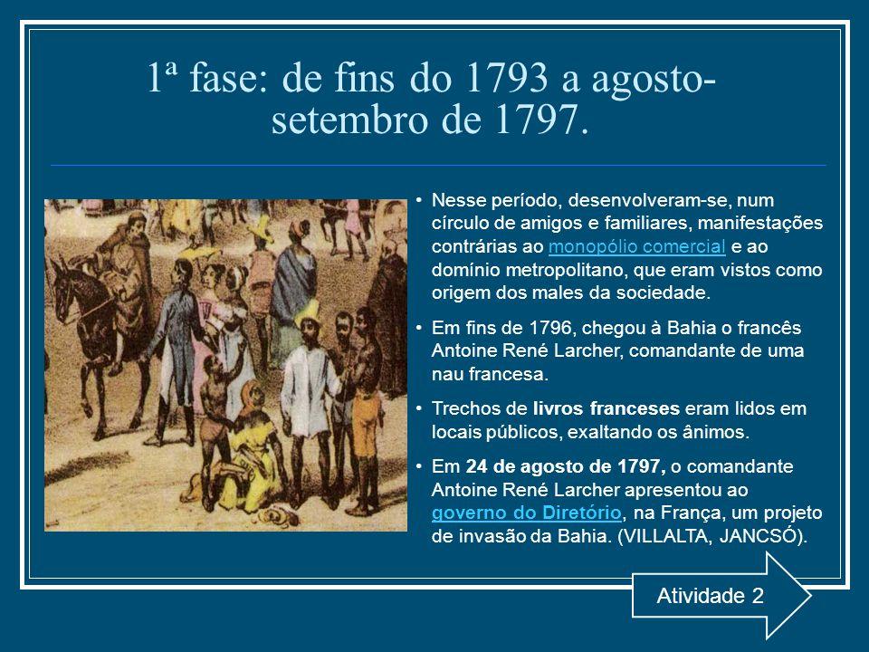 1ª fase: de fins do 1793 a agosto- setembro de 1797. Nesse período, desenvolveram-se, num círculo de amigos e familiares, manifestações contrárias ao