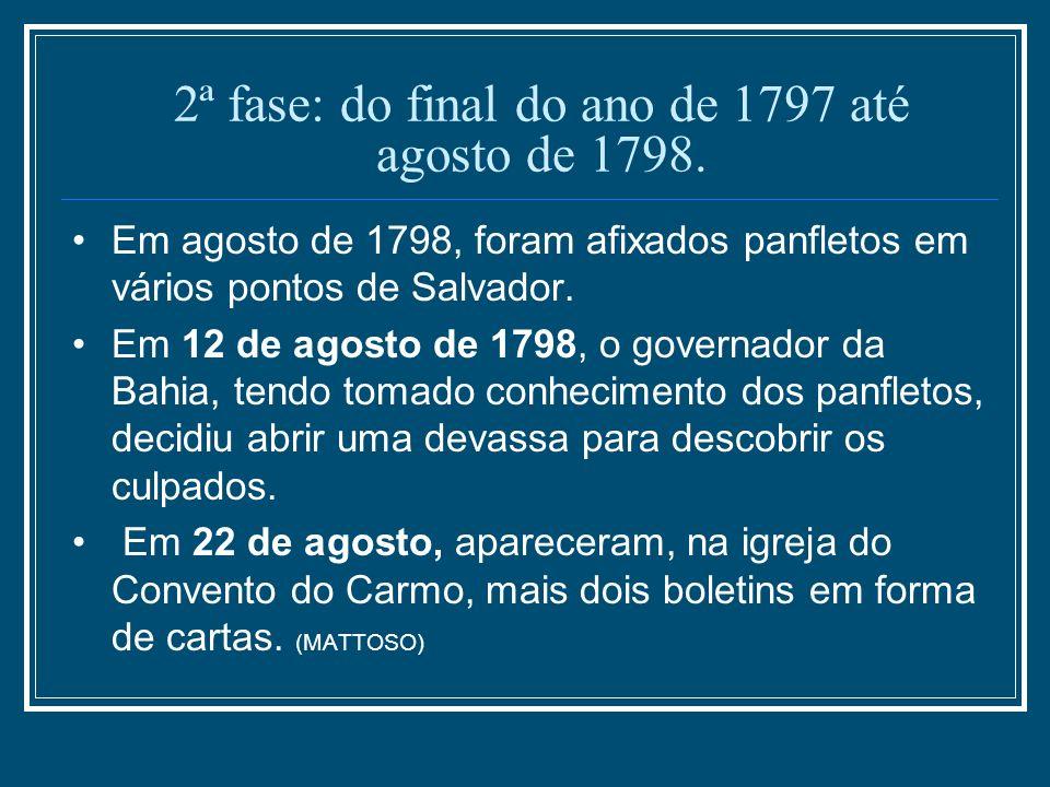 2ª fase: do final do ano de 1797 até agosto de 1798. Em agosto de 1798, foram afixados panfletos em vários pontos de Salvador. Em 12 de agosto de 1798